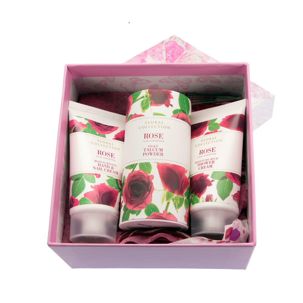 scarf floral gift box with various items only from
